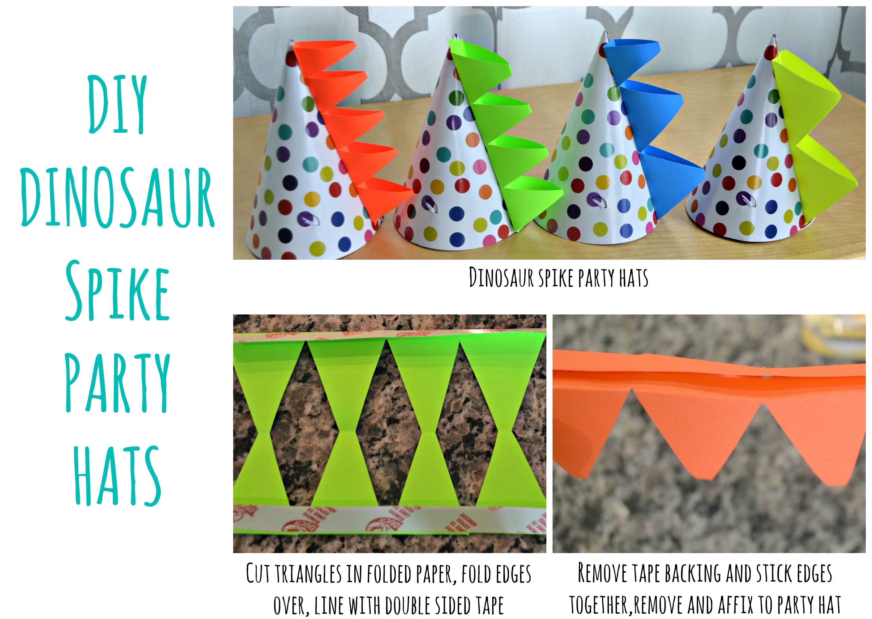 DIY Dinosaur Tails Dinosaur Spike Party Hats and Favors This